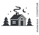 log cabin in woods icon or logo.... | Shutterstock .eps vector #1132655168