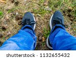 sneakers on the feet of the guy....   Shutterstock . vector #1132655432