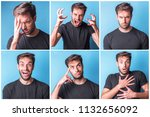 collage of a young man... | Shutterstock . vector #1132656092