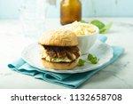 homemade chicken and coleslaw... | Shutterstock . vector #1132658708