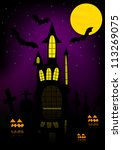 halloween background vector | Shutterstock .eps vector #113269075