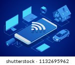 isometric smart technology to... | Shutterstock .eps vector #1132695962