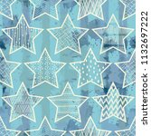 seamless pattern with stars.... | Shutterstock .eps vector #1132697222