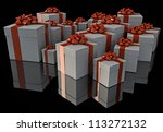 render of a group of gifts isolated on black - stock photo