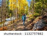 woman tourist walking on trail... | Shutterstock . vector #1132757882