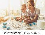 cute little girl and her... | Shutterstock . vector #1132760282