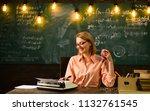 woman write love story novel in ... | Shutterstock . vector #1132761545