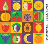 pop art fruit checkerboard... | Shutterstock . vector #1132762985