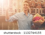 handsome guy in casual clothes... | Shutterstock . vector #1132764155