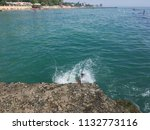 children jumping into the sea...   Shutterstock . vector #1132773116