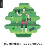 gym   a girl llifting weights... | Shutterstock .eps vector #1132785032