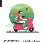 girl on a scooter   flat vector ... | Shutterstock .eps vector #1132785122