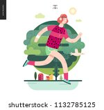 runners   a man running in the... | Shutterstock .eps vector #1132785125