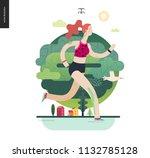 runners   a girl running in the ... | Shutterstock .eps vector #1132785128