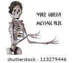 Human skeleton receptionist offering whatever message you wish to place above her outstretched arms - stock photo