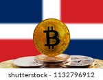 bitcoin btc on stack of... | Shutterstock . vector #1132796912