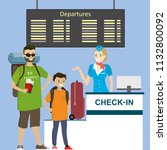 people in airport at... | Shutterstock .eps vector #1132800092