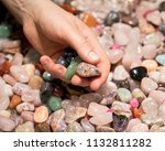 woman holding various tumbled... | Shutterstock . vector #1132811282