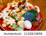 christmas cookie assortment... | Shutterstock . vector #1132813898