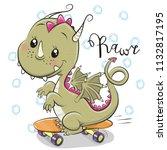 Cute Cartoon Dragon With...