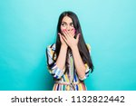 beauty shocked woman emotion... | Shutterstock . vector #1132822442