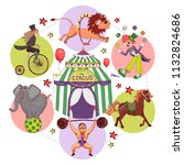 flat circus round concept with... | Shutterstock .eps vector #1132824686