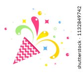 birthday party hat flat vector... | Shutterstock .eps vector #1132849742