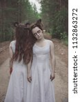 two twins demons with horns in...   Shutterstock . vector #1132863272
