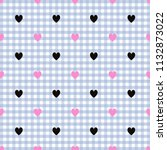 black heart pattern on blue and ...   Shutterstock . vector #1132873022
