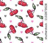 cherry pattern on white...   Shutterstock . vector #1132873028