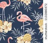 tropical pink flamingo birds ... | Shutterstock .eps vector #1132880372