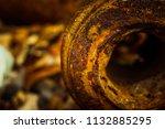 very rusty metal on a gray... | Shutterstock . vector #1132885295