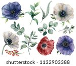watercolor eucalyptus and... | Shutterstock . vector #1132903388