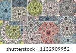 vector patchwork quilt pattern. ... | Shutterstock .eps vector #1132909952