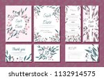 wedding card templates set with ... | Shutterstock .eps vector #1132914575