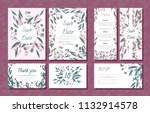 wedding card templates set with ... | Shutterstock .eps vector #1132914578