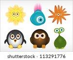 cute cartoon animals vector | Shutterstock .eps vector #113291776