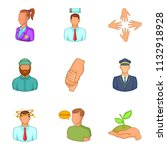 description of staff icons set. ... | Shutterstock . vector #1132918928