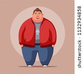 happy fat man. obese character. ... | Shutterstock . vector #1132934858