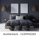 mock up poster in bedroom... | Shutterstock . vector #1132942265