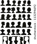 30 head silhouettes and a... | Shutterstock . vector #113294692