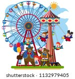 scene of a fun park illustration | Shutterstock .eps vector #1132979405
