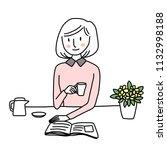 reader enjoy interesting book... | Shutterstock .eps vector #1132998188