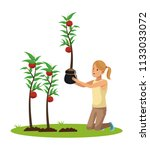 woman and garden cartoons | Shutterstock .eps vector #1133033072