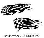 Checkered flag with black flames as a racing tattoo, such a logo template. Vector version also available in gallery - stock photo
