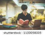 man student with glasses... | Shutterstock . vector #1133058335
