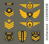 army and military badge set.... | Shutterstock .eps vector #1133058338