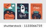 happy halloween greeting card ... | Shutterstock .eps vector #1133066735