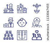 set of 9 people outline icons...   Shutterstock . vector #1133067455