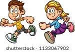 cute cartoon running boy and... | Shutterstock .eps vector #1133067902